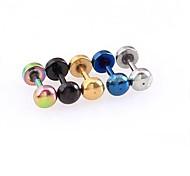 lureme®316l chirurgische Titan Stahl, 4 mm Quadrat einzelnen Ohrstecker (gelegentliche Farbe)