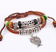 Women's Fashion Cute Owl  Beads Leather Braided Bracelets
