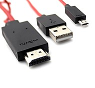 1.8M 6FT MHL Micro USB Male to HDMI Male Cable