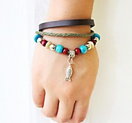 Unisex's Fish Wooden Bead Leather Braided Bracelets