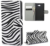 Zebra Pattern PU Leather Case with Stand and Card Slot for Sony M2 (S50h)