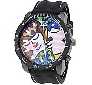 Men's Stylish Cartoon Dial Silicone Band Quartz Wrist Watch