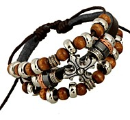 Beaded Leather Punk Bracelet