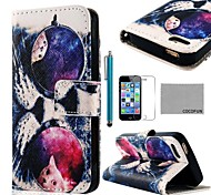 COCO FUN ® Glas-Katze-Muster PU-Leder-Ganzkörper-Fall mit Film, Stand und Stylus für iPhone 5/5S