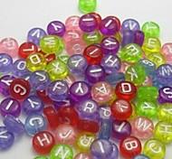 z&x® perles bricolage matériaux perles de lettres colorées transparentes 100 pcs (couleur aléatoire, motif)