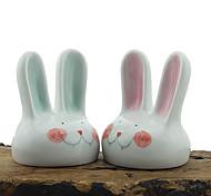 Espelho casal coelho pintura 1 pcs mão cerâmica estereoscópico animais