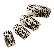 24PCS Golden Edge Leopard Design Nail Art Tips With Glue