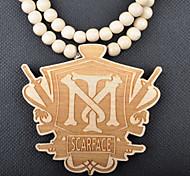 Mode beliebt dj tm Anhänger Khaki Holz Halskette (1 PC)
