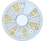 60PCS 12Designs Hollow Golden and Silver Metal Accessories Wheel Nail Art Decoration