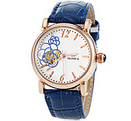 Women's Auto-Mechanical Flower Pattern Skeleton Leather Band Wrist Watch (Assorted Colors)