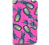 Pink Pineapple Pattern PU Leather Full Body Case with Card Slot Stand for Nokia Lumia N520