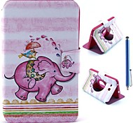 Cartoon Elephant Design PU Leather Full Body Case+Stylus Pen for Samsung Galaxy Tab 3 Lite T110/T111