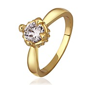 Trendy Simple Women's Shining Zircon Inlaid Ring (Gold / Gold-Pink)