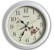 "Telesonic™ 15""H  European Classic Style Flower Wood Mute Wall Clock"