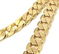 Chunky 24K Yellow Gold Filled Men's Necklace Solid Curb Link Chain 60CM (24 Inches) 10MM