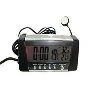 Car Clock with Hygrometer LCD Display Digital Automotive Interior And Exterior Thermometer Temperature Alarm-Black