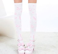 Socks/Stockings Sweet Lolita Lolita Princess White / Pink Lolita Accessories Stockings Print For Women Nylon