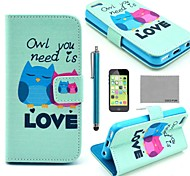 COCO FUN® Fall in Love Owl Pattern PU Leather Full Body Case with Screen Protector, Stylus and Stand for iPhone 5C