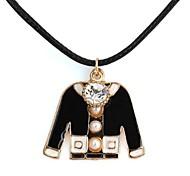Schwarze Jacke mit Leder-String Shaped Halskette für Liebhaber (1 PC) Pearl Metal-Diamanten besetzte
