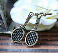 Vintage (raqueta) Pendientes de cobre de bronce de la gota (bronce) (1 par)