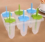 "6 Cells Star Ice Cream Tray Cube Mould Mold with Stick(Random Color) , Plastic 7.5""X4.88""X5.6"""