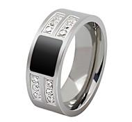 Moda de acero inoxidable con incrustaciones de circón Suave y anillos de los hombres cómodos de (1 PC)