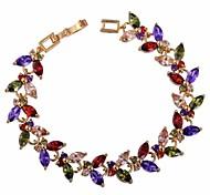 moda delicada flor de la mujer plateada Forma 18 k oro pulsera