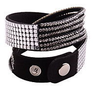 Leather Bracelet Multilayer Clear Rhinestone Black Bracelet