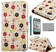 Patrón COCO FUN ® Rosa Blanca PU Leather Case cuerpo completo con protector de pantalla, Stand and Stylus para iPhone 4/4S