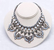 Fashion (Flower) Dark Blue Metal Chain Zinc Alloy Necklace(Dark Blue)(1Pc)