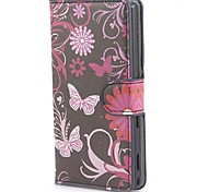 Butterflies Pattern PU Leather Case with Stand and Card Slot for Sony M2 (S50h)