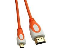 micro hdmi 1.4v cable micro HDMI macho a HDMI macho naranja y blanco cabeza dorada