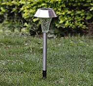 1-LED Whte Solar Stainless Steel Lawn Light Pathway Garden Lamp