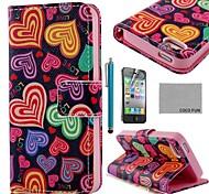 Cuero colorido del corazón caja de la PU de cuerpo completo COCO FUN ® con protectores de pantalla, Stand and Stylus para iPhone 4/4S