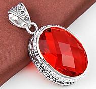 Vintage 1pc ovale de quartz de pierre gemme rouge pendentif en argent