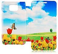 Butterly und Tulpe-Muster-Leder Ganzkörper-Case für Samsung Galaxy S2 I9100
