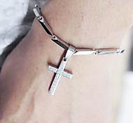 Plata Titanio Acero Brazalete de tenis de la Biblia Jesús Mujeres Cross 20cm (1 PC)