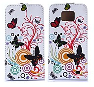 Flowers and Butterfly Pattern Pu Leather Full Body Case for Samsung Galaxy S2 I9100