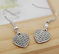 Vintage (Heart) lega d'argento orecchini di goccia (Silver) (1 coppia)