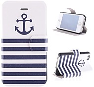 The Ship At Design PU Full Body Case with Card Slot and Stand for iPhone 4/4S