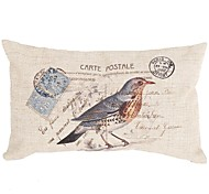 "Createforlife ® 12 ""x 20"" Rectangle Vintage Blue Bird coton / lin coussin décoratif"