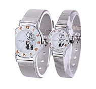 Coway Lovers Round Silver Dial Silver Leather Band Quartz Analog Waterproof Wrist Watch