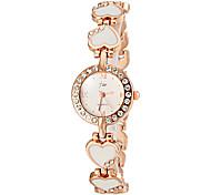 Women's Heart Shape Gold Alloy Band Quartz Bracelet Watch