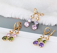 Women's New Arrival 18K Gold Plated Triangle and Rounded Figure Design Zircon Earrings ER0235