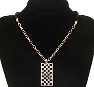 Vintage Black Bead Square Shape Pendent Necklace(1 Pc)