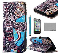 COCO FUN ® Elephant Blue PU Leather Full Body hoesje met Screen Protector, Stand en Stylus voor iPhone 4/4S