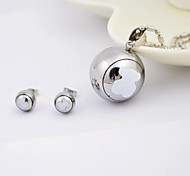 Lovely Bear Titanium Steel Ball Shape  Necklaces and Earrings Jewelry Sets