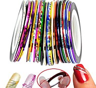 30Pcs Mixed Colors Rolls Striping Tape Line Nail Art Decoration Sticker