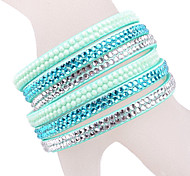 Multilayer Blue Rhinestone Leather Bracelet