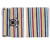7 Colour Stripes 360 Degree Rotating PU Leather Case with Stand for iPad 2/3/4